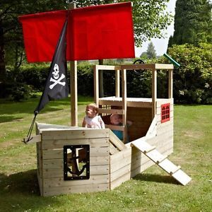 Attrayant Childrens Wooden Outdoor Pirate Ship Activity Playhouse Centre Boat Kids