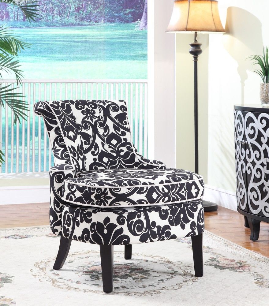 Best Black And White Damask Chair Powell Furniture Furniture 400 x 300