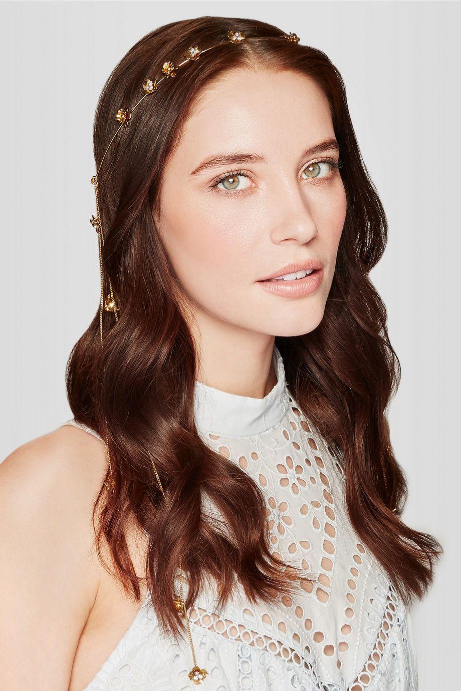 Jennifer Behr | Stevie gold-tone crystal headband | NET-A-PORTER.COM