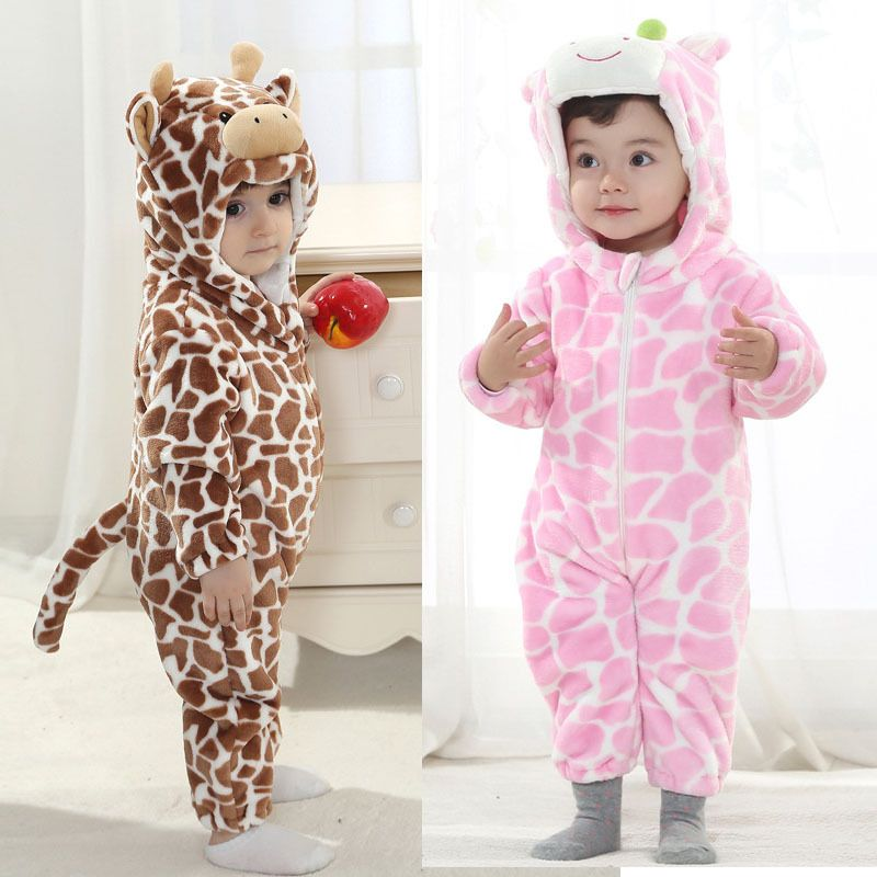 5624b0dfb3b9 New Fleece Animal Jumpsuit Cow Newborn Baby Girl Boy Romper Kid ...
