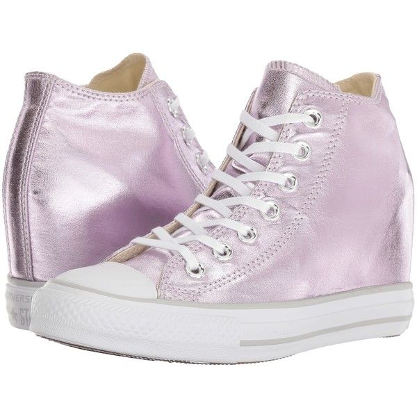 Converse Ctas Lux Mid (Barely Fuchsia/White/Mouse) Women's Lace up... (295 NOK) ❤ liked on Polyvore featuring shoes, sneakers, pink, lacing sneakers, pink sneakers, fuschia pink shoes, white lace up shoes and hidden wedge sneakers