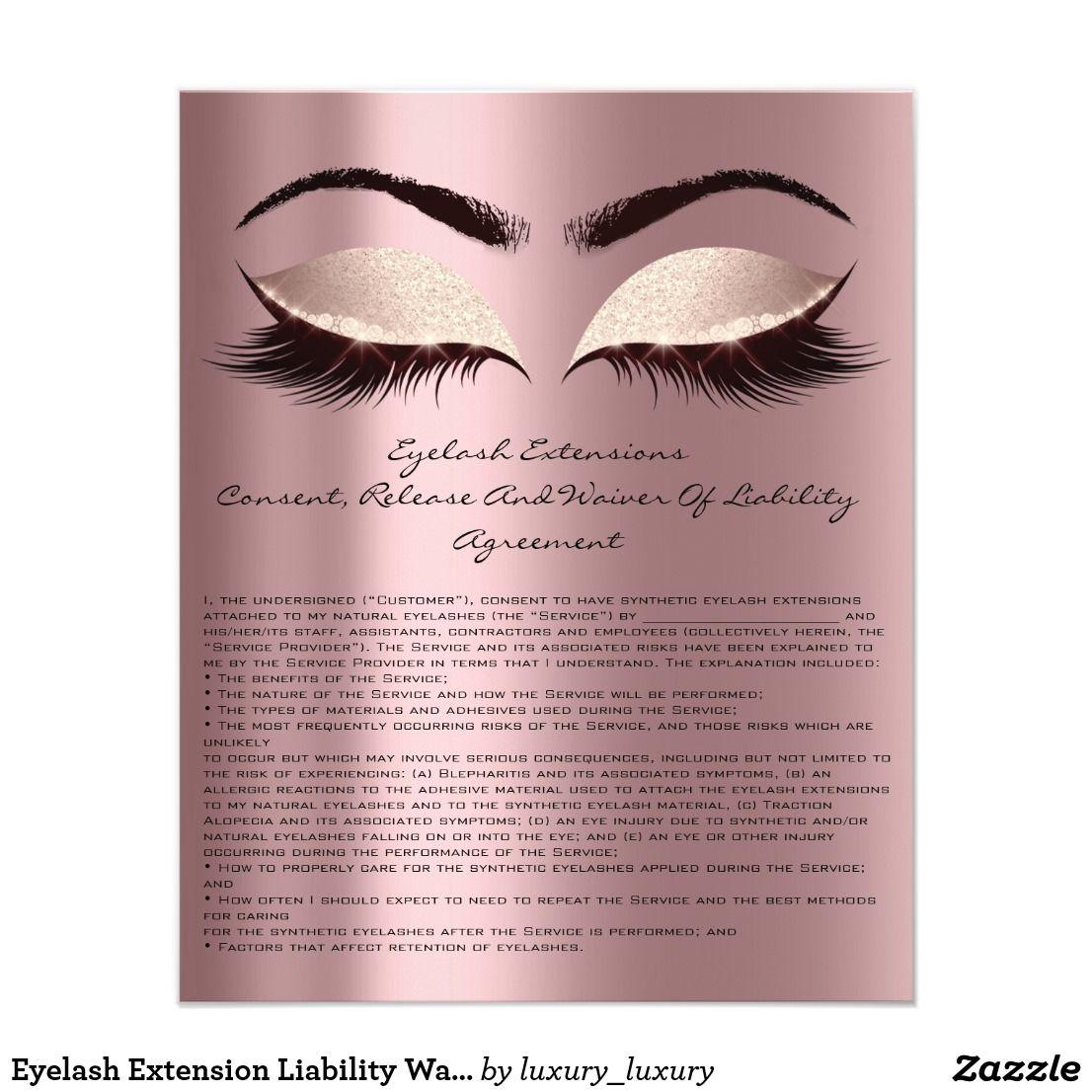 Eyelash Extension Liability Waiver Eyes Rose Spark Flyer