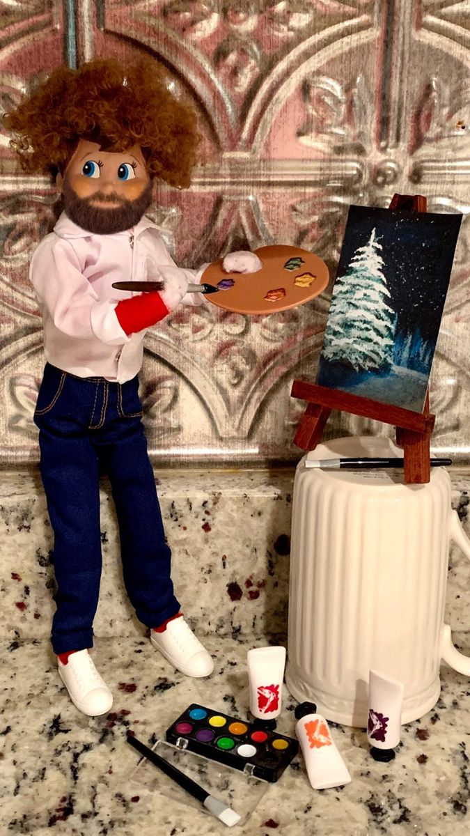 Painting elf   Little christmas trees, Happy little trees ...
