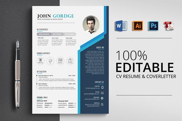 Resume Templates Design Creative Design Cv Resume Word Creativework247 Fonts Graphics Photoshop Te Desain Cv Cv Kreatif Desain Resume