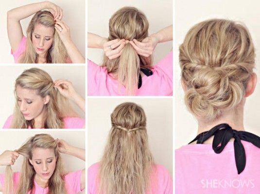 Quick Bun For Wet Hair Damp Hair Styles Hair Styles Twist Ponytail