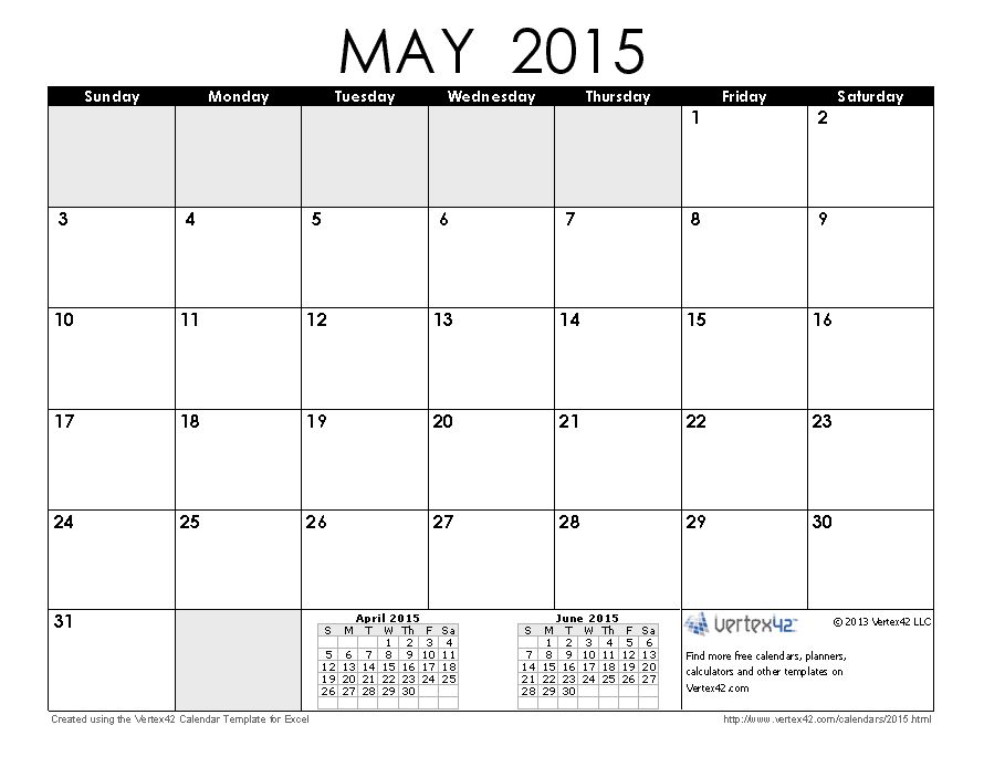 2015 may printable calendar without holidays | Free Printable ...