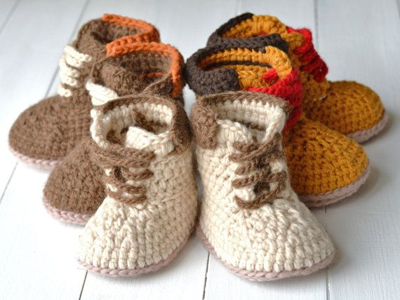 43639b494565f Crochet Pattern Baby Timberland Style Booties Baby Workman Booties ...
