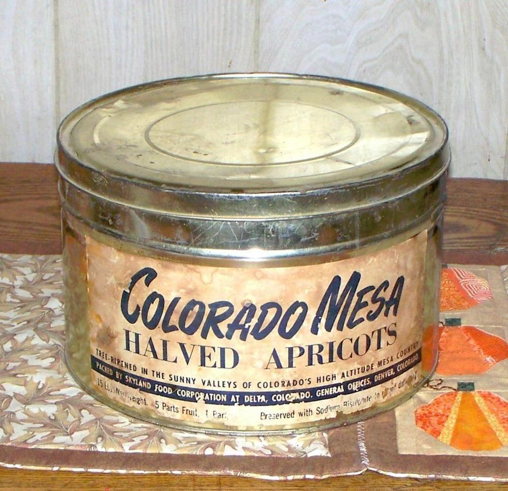 Vintage Colorado Mesa Halved Apricots Large Tin Skyland Foods Delta Colorado #ColoradoMesa