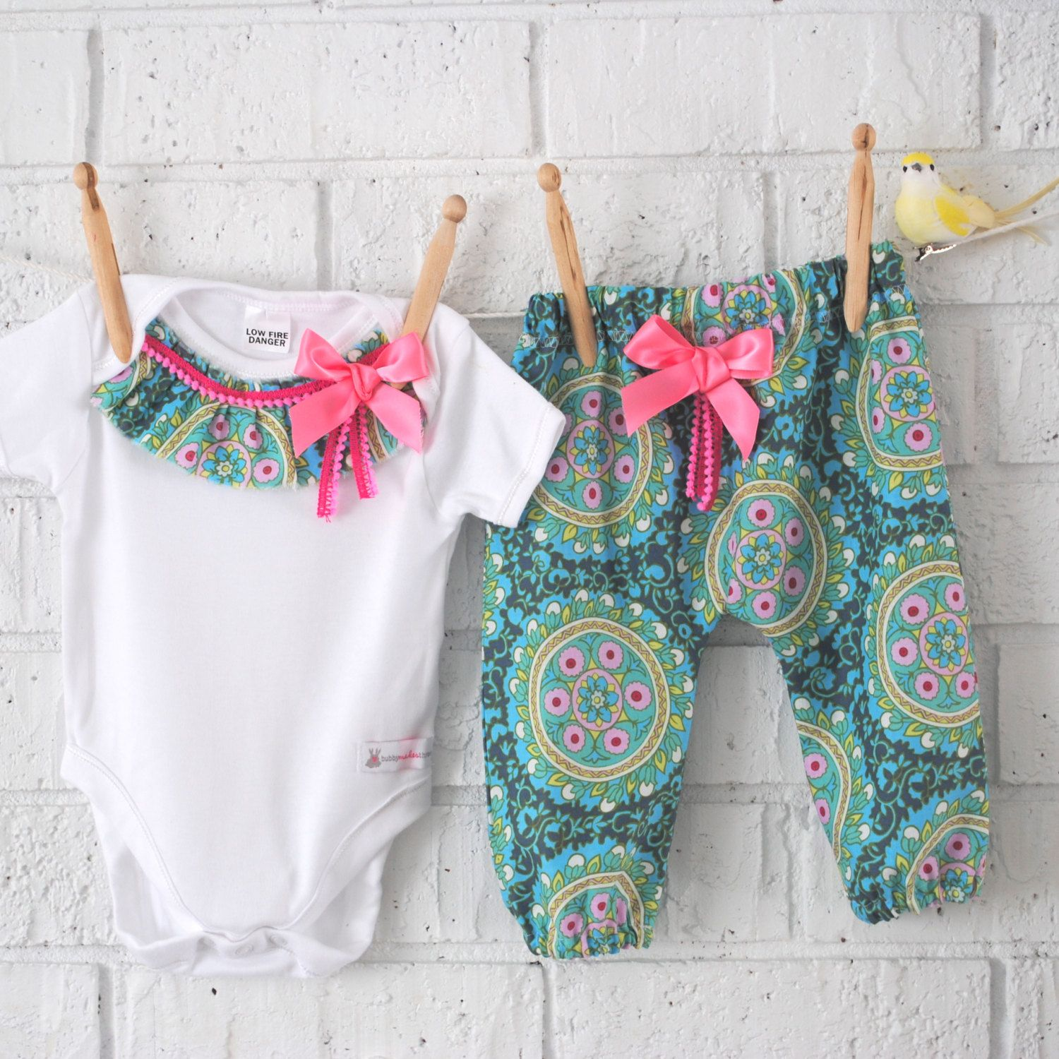 Baby Girl Bohemian Harem Pants and Bodysuit by BubbyMakesThree