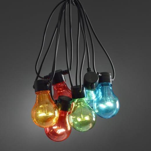 Hurn hurn discoveries led festoon lights set 20 multi coloured e27 bulbs