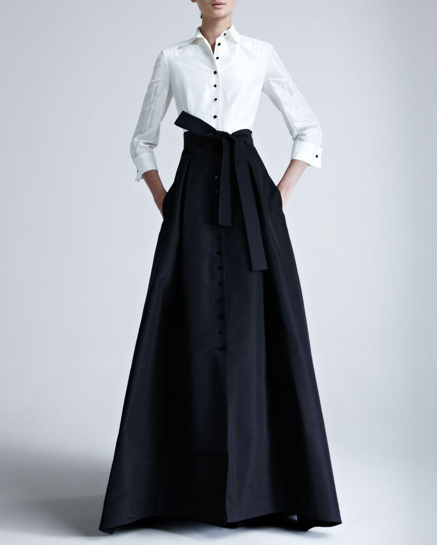 Carolina Herrera Evening Gown In Two Tone Silk Taffeta Approx