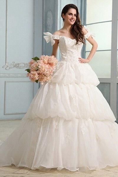 Ivory Classic Princess Wedding Gowns - Order Link: http://www.thebridalgowns.com/ivory-classic-princess-wedding-gowns-tbg0696 - SILHOUETTE: Princess; SLEEVE: Short Sleeves; LENGTH: Sweep/Brush Train; FABRIC: Organza; EMBELLISHMENTS: Beading , Applique , Ruched , Bowknot - Price: 200USD