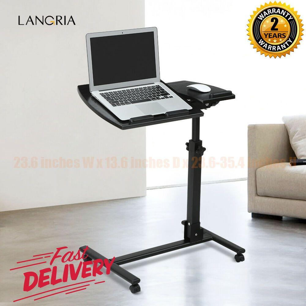 Height Adjustable Rolling Laptop Desk Cart Tilt Stand Caster Bed Side Table New Affilink Desk Desksetup Mobile Desk Laptop Table Adjustable Desk