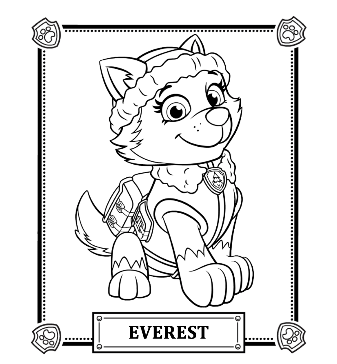 Paw patrol coloring pages happy birthday - Paw Patrol Everest Coloring Pages