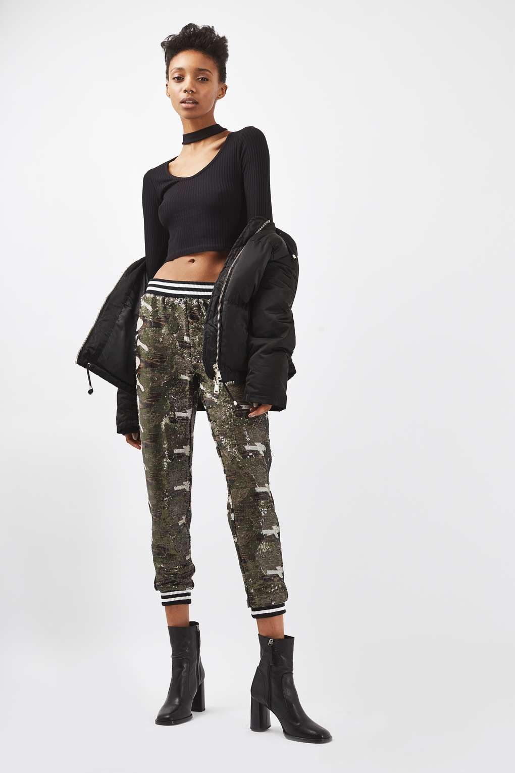Sequin Camouflage Joggers