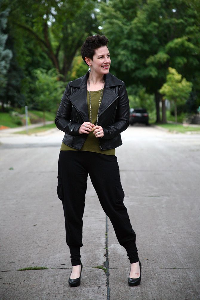 Already Pretty outfit featuring leather moto jacket, olive green tank, cargo sweatpants, black pumps