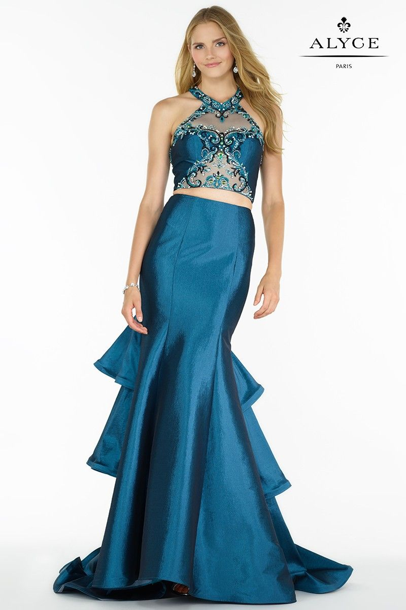 Dress Style #1179 | Trumpet Ruffle Blue Teal Sequined High-Neck ...