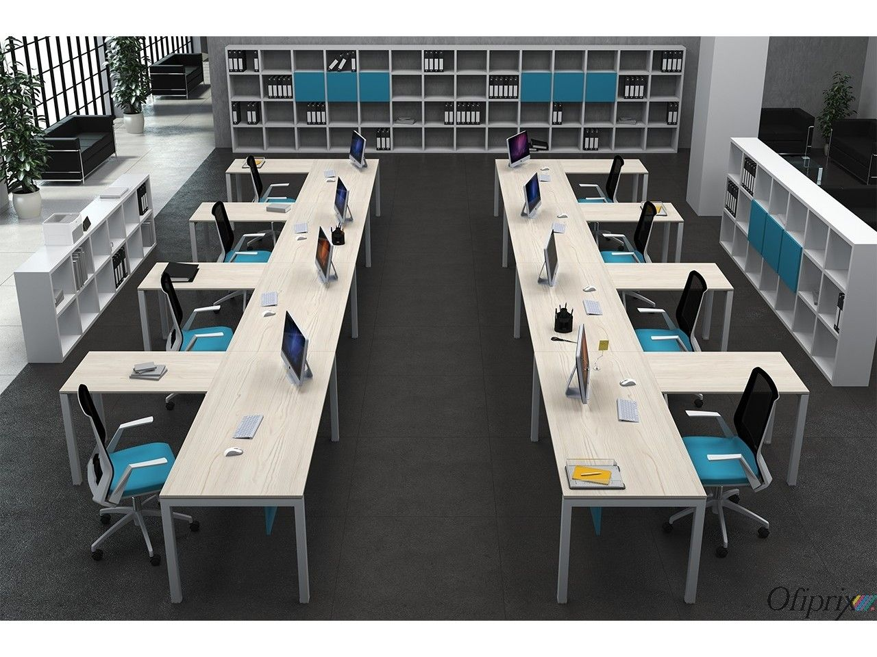 Mesas de oficina modernas serie kubika series for Mesas para oficinas modernas