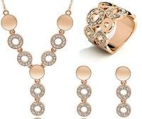 Wish | Gold/Silver plated high quality jewelry set for women necklace/earring/ring