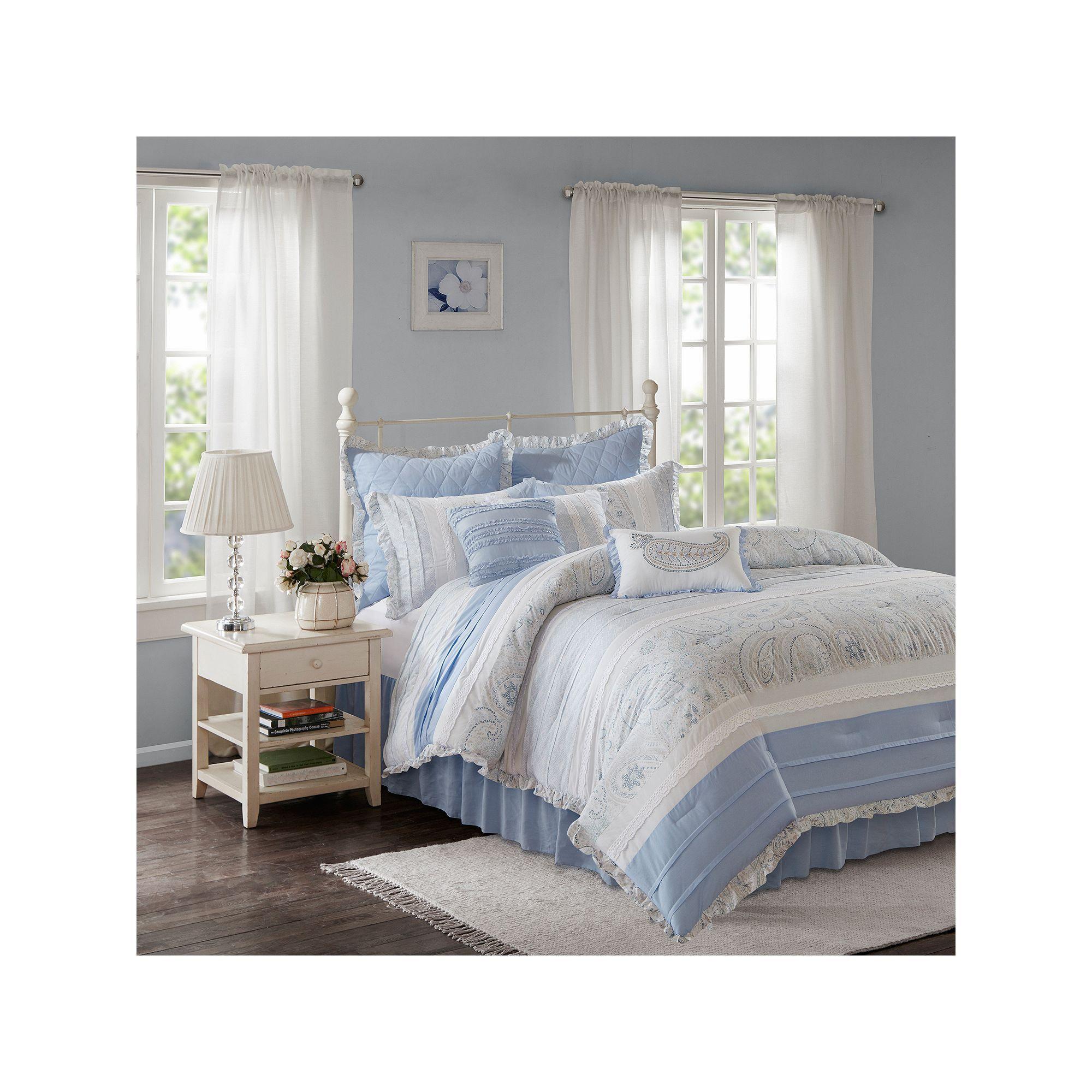 Madison Park 9 Piece Hilarie Comforter Set Blue Products Comforters Comforter Sets Ruffle