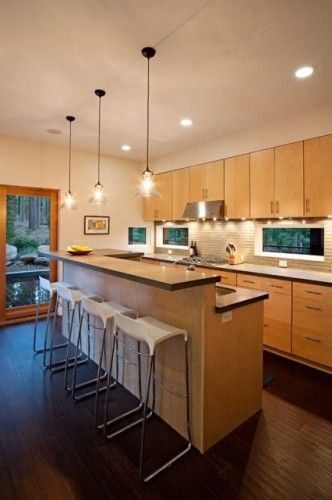 Light Maple Cabinets With Dark Hardwood Floors For Our New House Love The Modern Look Pendant Lights Over T With Images Maple Cabinets Maple Kitchen Modern Maple Kitchen