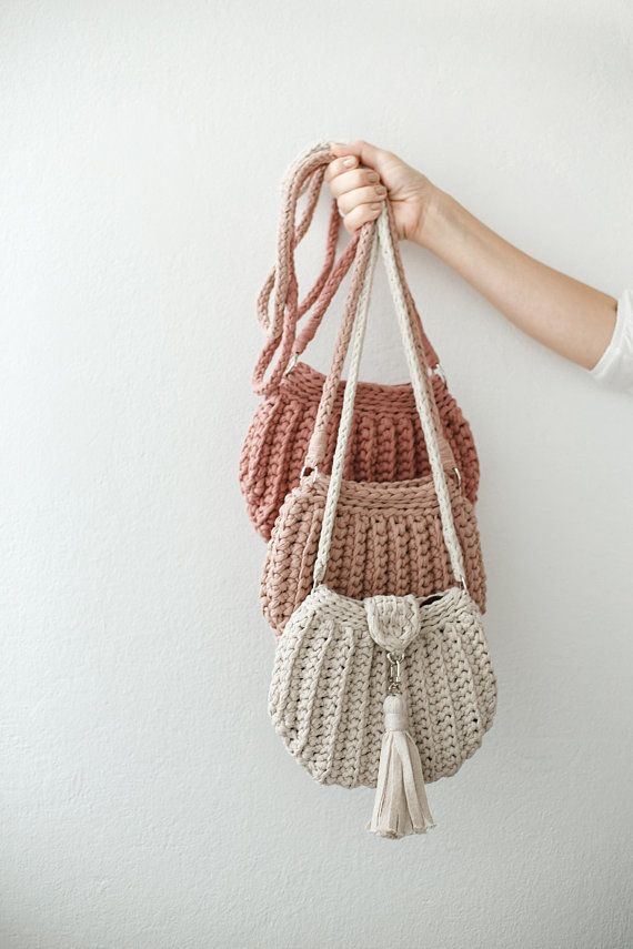 Knitted Bag Crochet Knit Handmade Hand Handbag T Shirt Yarn Beige Pink Dusty Rose