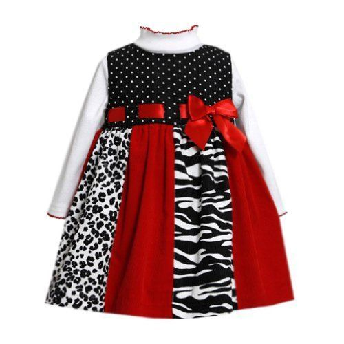 Bonnie Jean Little Girls Zebra Corduroy Jumper