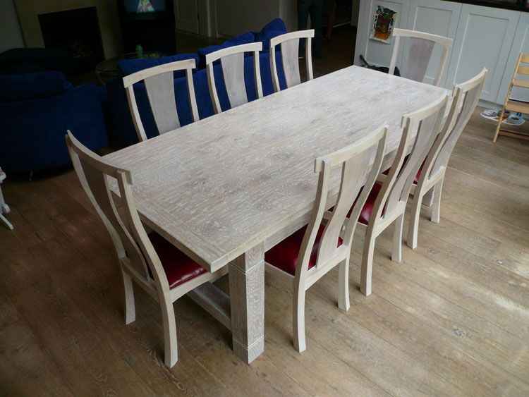 Lime Washed Handmade Oak Refectory Dining Table Chairs Dining Table
