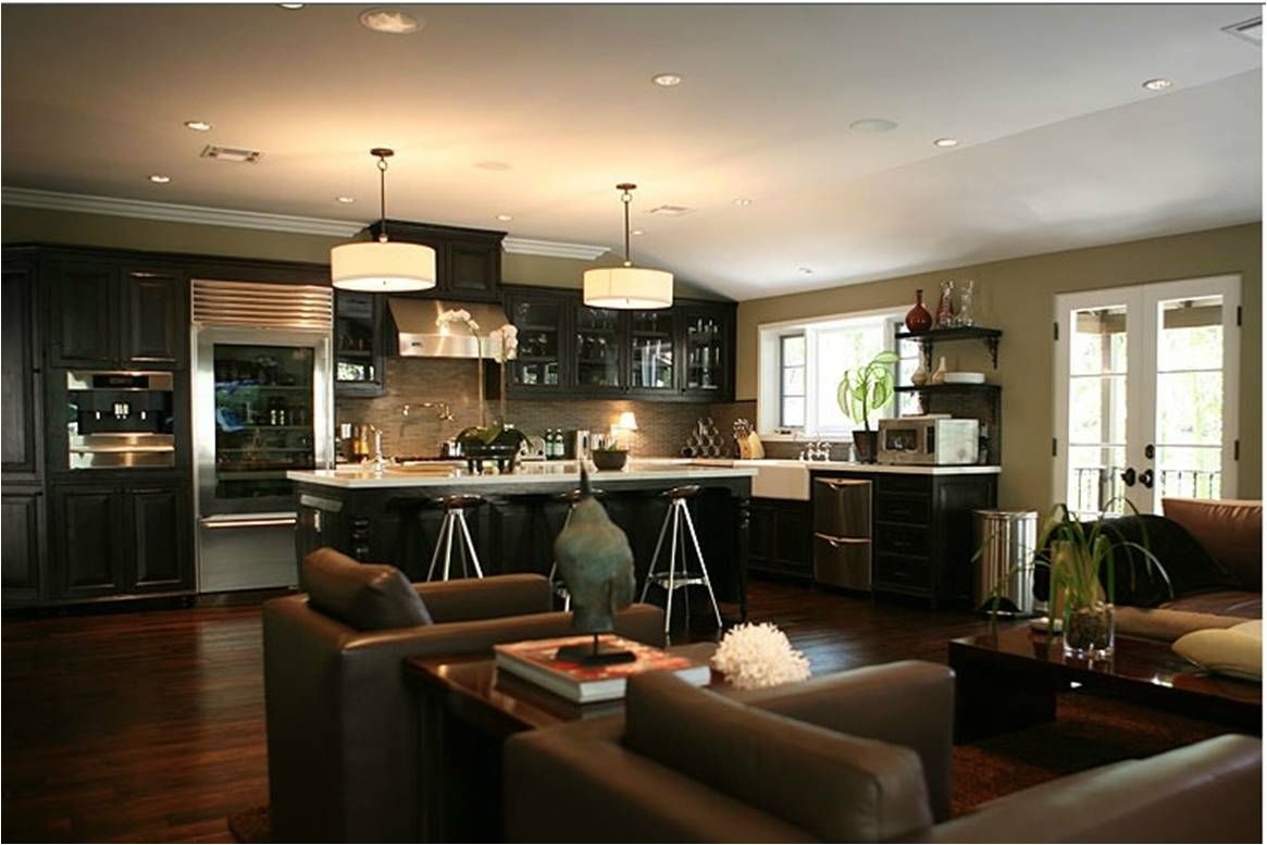 Jeff lewis small kitchen living room combo design for Kitchen family room combo floor plans