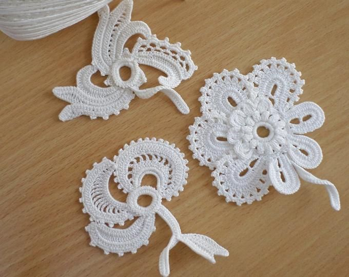 Irish lace, irish crochet flower motifs, offwhite flower applique, Irish crochet flower applique, hair decor, wedding decor Set of 3 #irishcrochetflowers