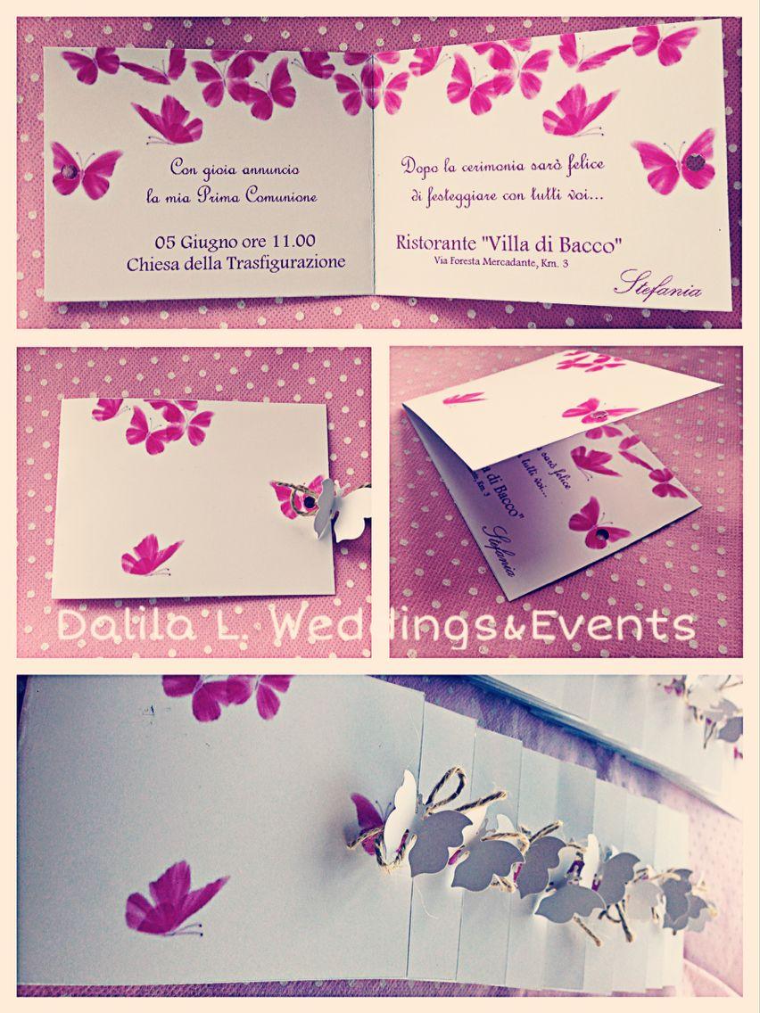 Molto Butterfly invitation - Prima comunione tema farfalle INVITO  GV42