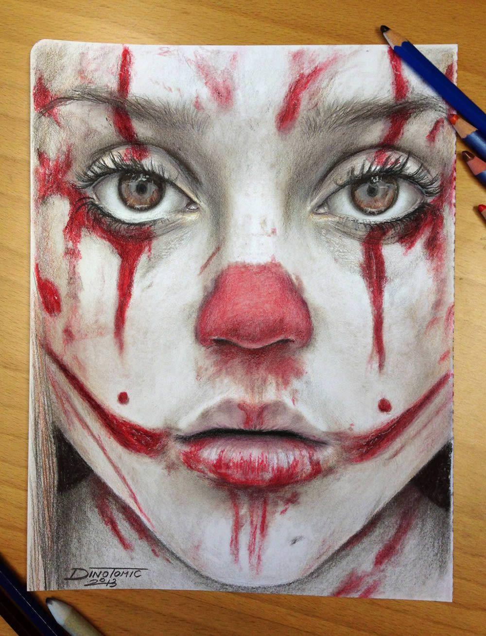 A Clown And Eyeballs Color Pencil Drawing Cool Pencil Drawings Pencil Drawings
