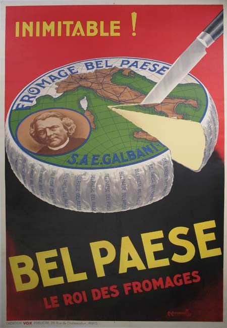 Title: Bel Paese / Artist: Maus. A / 47x63 / One of a kind! Bel Paese The king of cheeses