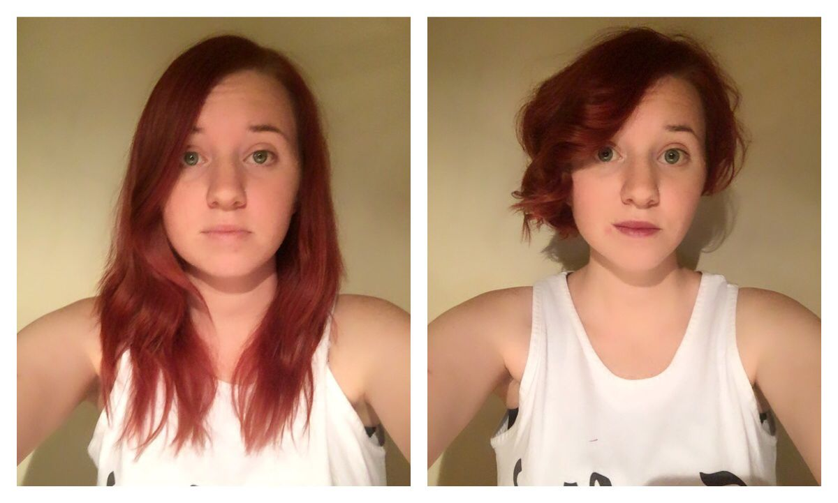 Before and after haircut asymmetric red short wavy beautiful hair