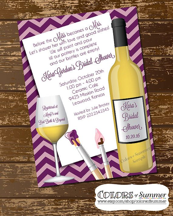 bridal shower brunch, paint & wine party invitation, wedding, Party invitations