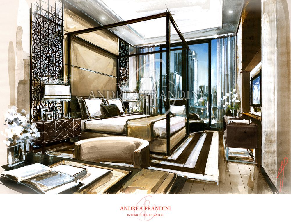 Innenarchitektur modern skizzen  interior illustration and visualization, watercolor illustration ...
