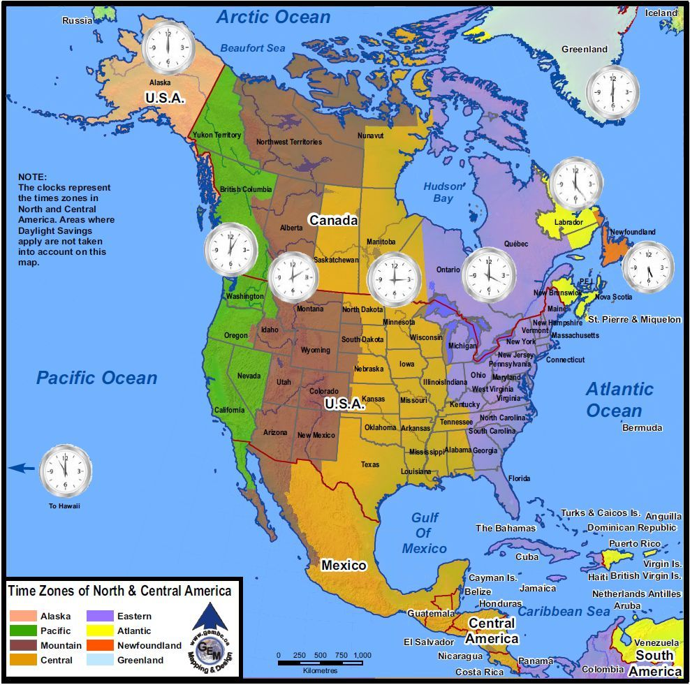 Time Zones Of North America Maps By Geo Earth Mapping Time Zone