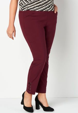 d41bf9def7498 Signature Slimming Solid Lace Up Bengaline Plus Size Ankle Pant  3011-CHATEAU BERRY