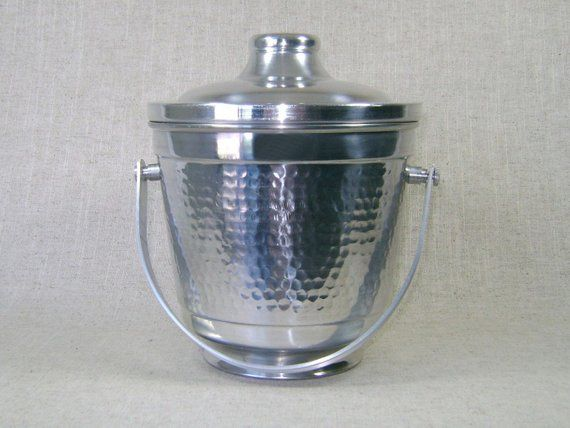 Aluminum Ice Bucket Handcrafted In Italy With Pivoting Handle And Hand Hammered Finish