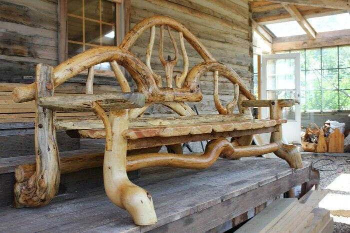 Lodgepole pine bench by Jack Waller Tree Art | Rustic furniture ...