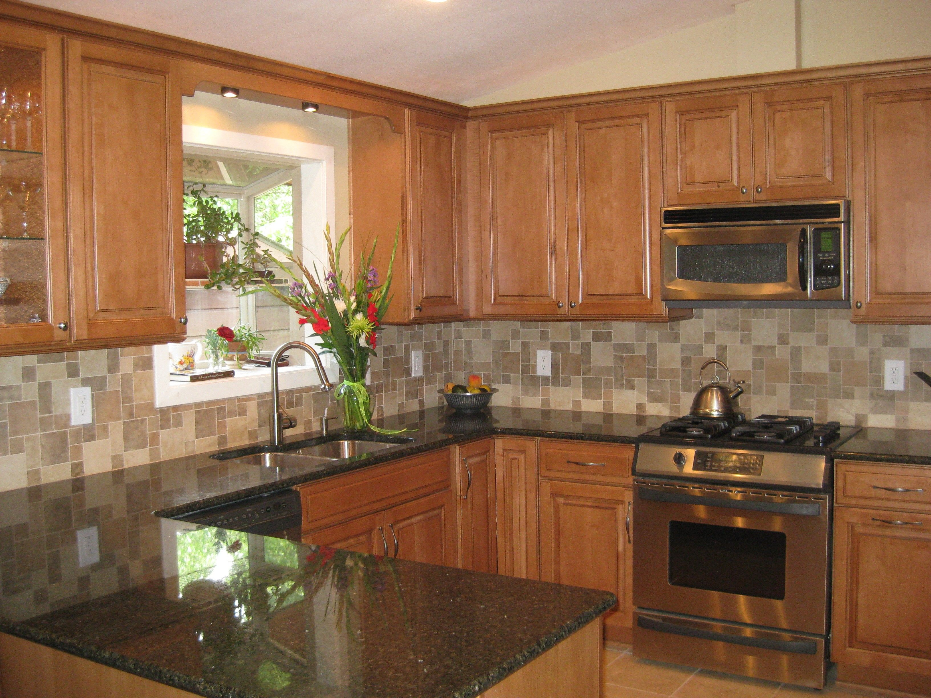 Black Granite Countertops With Tile Backsplash Property lacquered wood kitchen cabinet grey metal single metal white tile