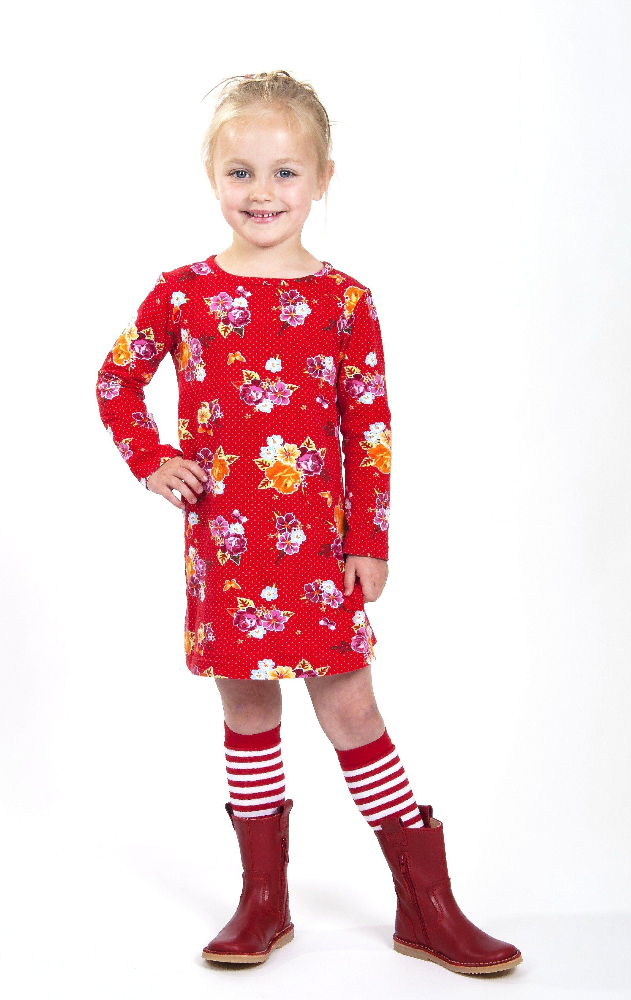 Rode Tricot Jurk.Skinny Dress Rode Stip En Rozenprint Super Zacht Tricot Skinny