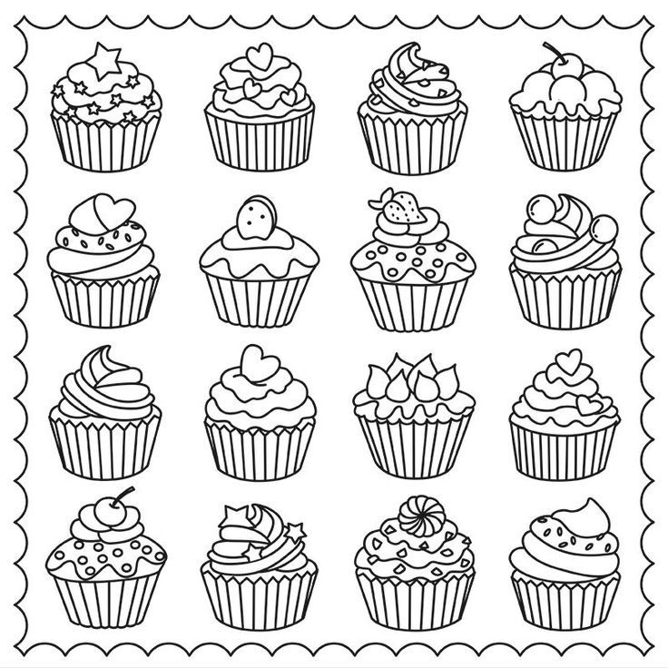 cupcakes colouring page colouring coffee tea cakes