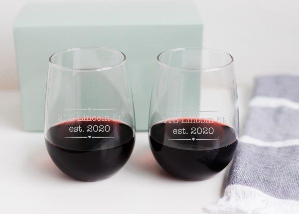 Personalized Stemless Wine Glass Set with a Custom Address & Year – morning fog studios