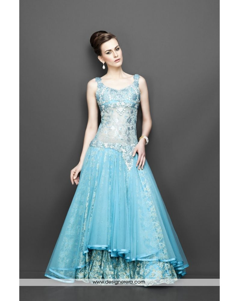 DE Dazzling Aqua Blue Designer Gown | Luxurious Designer Engagement ...