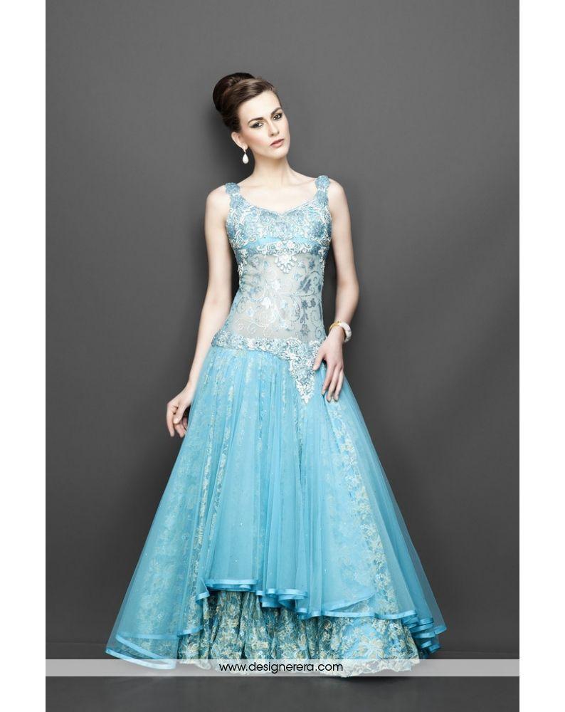 DE Dazzling Aqua Blue Designer Gown | Luxurious Designer Engagement ...