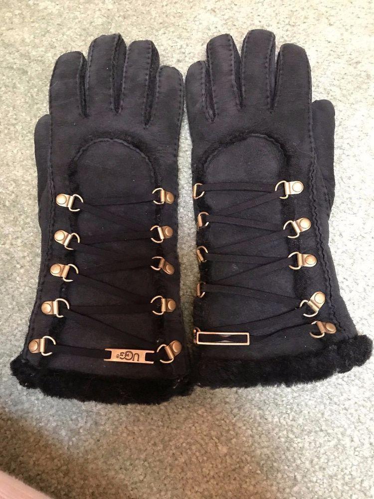 55dfa9bb9db UGG Women's Igloo Turn Cuff Shearling Black Suede Gloves Sz M Free ...