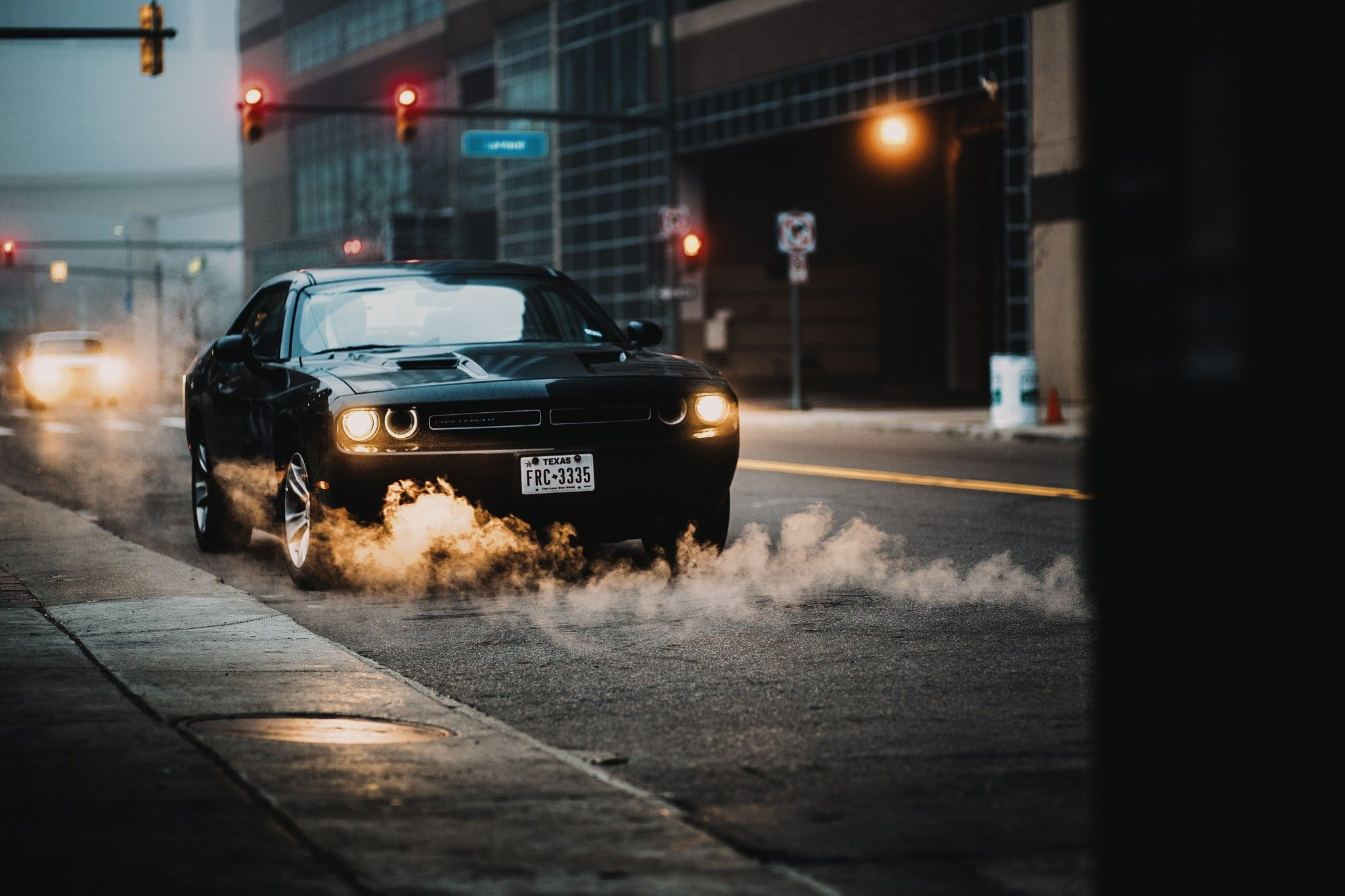 Car Smoke Street Traffic Lights Black Cars Urban 1080p Wallpaper Hdwallpaper Desktop Car Smoke Black Car Traffic Light