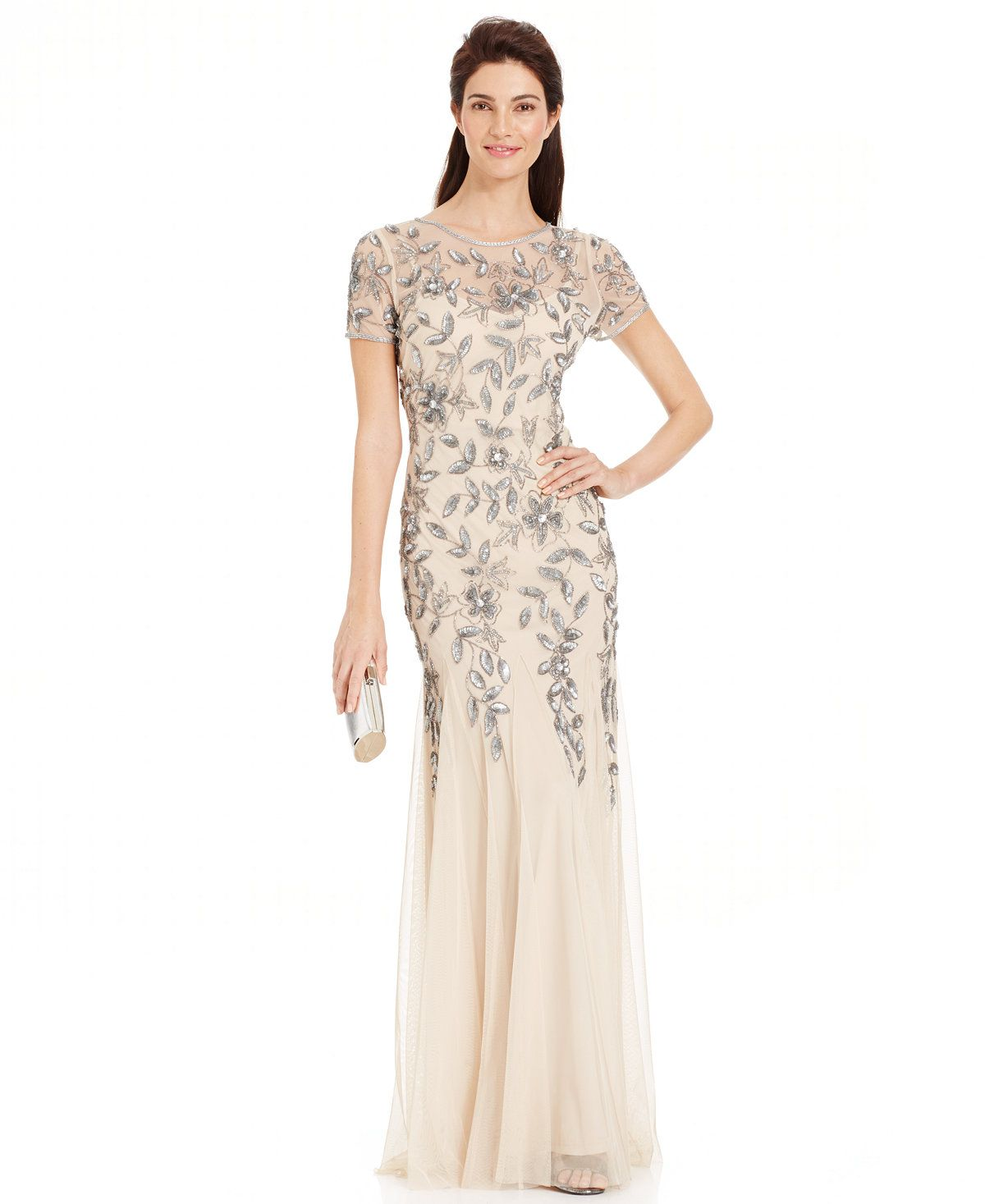 Adrianna Papell Petite Floral-Beaded Gown | Mermaid gown, Adrianna ...