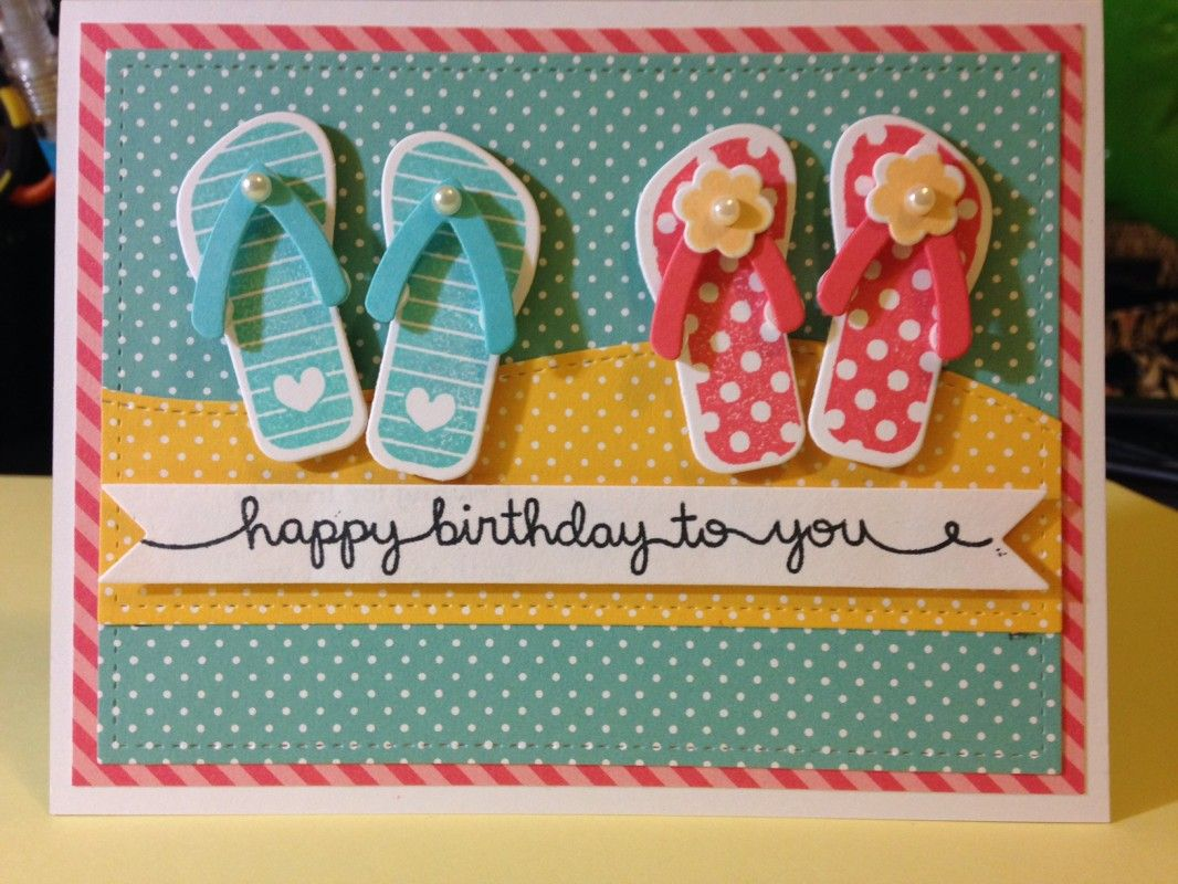 2e0090f0a handmade card  Flip Flop Fun Birthday by bhappystamper ... luv the die cut flip  flops in bright summer colors .